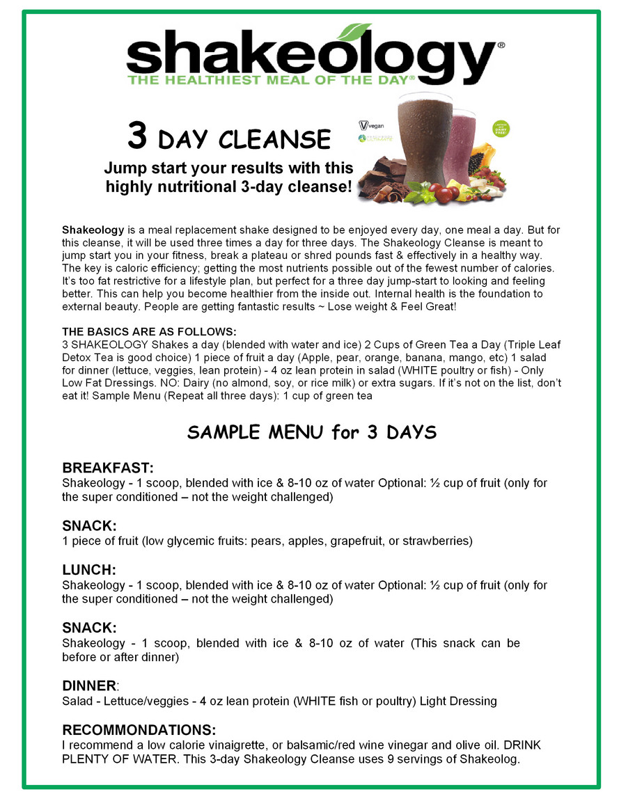 Shakeology Cleanses Fit Amp Fab Nh